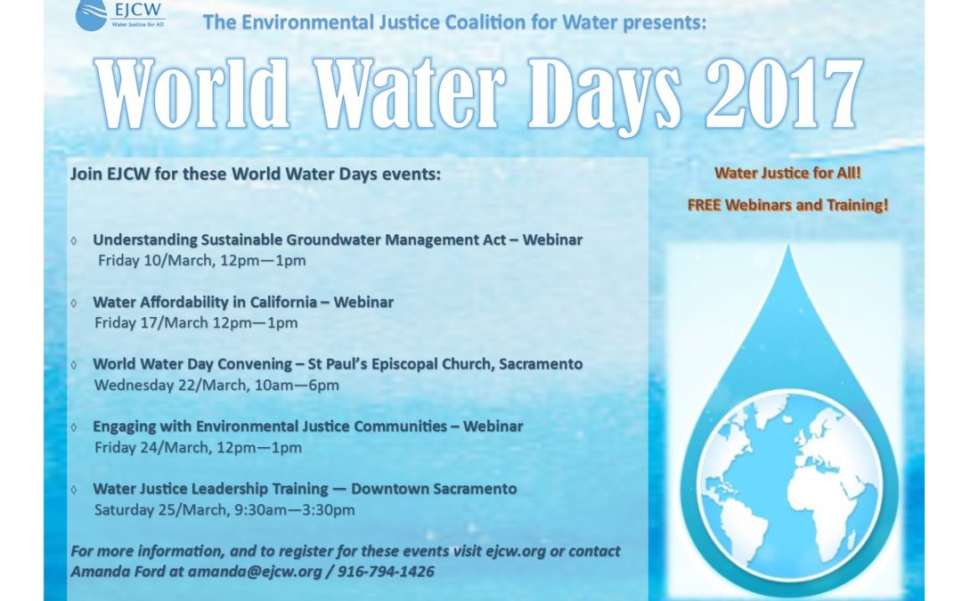 EJCW Presents: World Water Days 2017